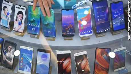 Huawei smartphones displayed at a store in Shanghai.