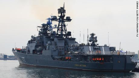 The Russian destroyer Admiral Vinogradov arrives at a port to attend China-Russia Joint Sea 2019 naval exercise on April 29, 2019, in Qingdao,  China.