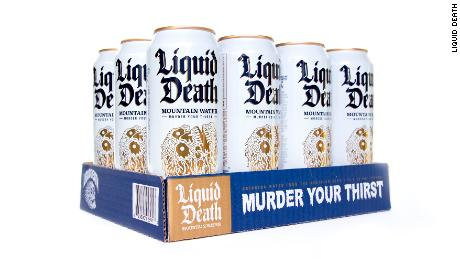 """With the tagline """"Murder Your Thirst,"""" Liquid Death applies the bold marketing of energy drinks to a water-in-a-can beverage."""
