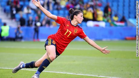 Lucia Garcia of Spain celebrates after scoring her team's third goal against South Africa on Saturday.