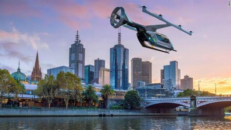 An artist's impression of an Uber flying taxi, which the company aims to bring to Melbourne next year.