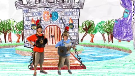 """""""Rooey,"""" left, and """"Bean Boy"""" appear in a scene from their web series, """"Go Go Brothers."""""""