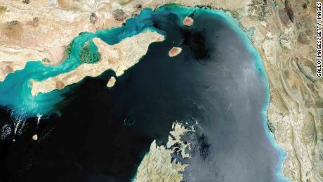A satellite image of the Strait of Hormuz.