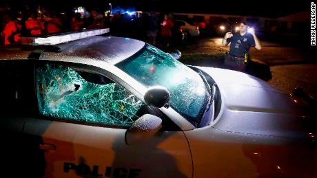 A squad car was damaged in the protests Wednesday in Memphis.