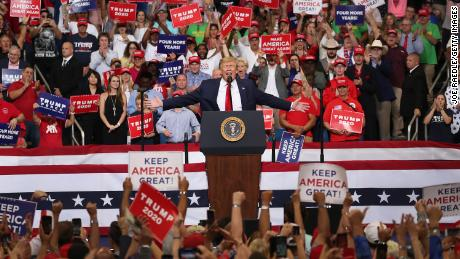 Crowd chants 'send her back' as Trump escalates attacks on Ilhan Omar and 'The Squad'