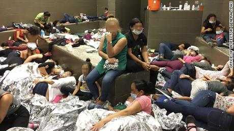 Overcrowding of families observed by OIG on June 11, 2019, at Border Patrol's