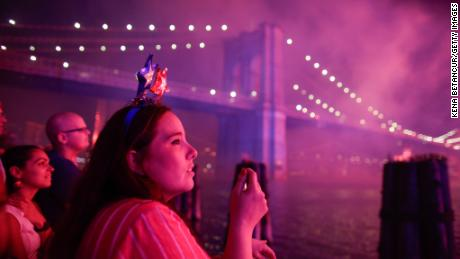 People watch fireworks light up the Brooklyn Bridge during Macy's annual East River Fireworks Show from Manhattan on July 4, 2019.