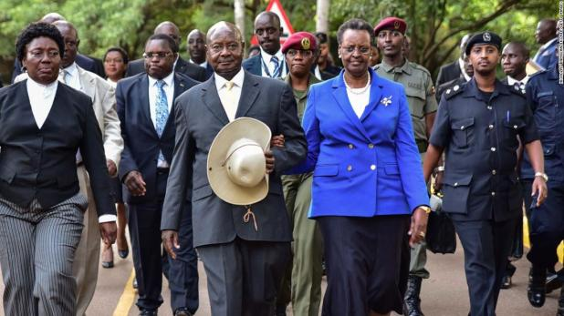Ugandan President Yoweri Museveni alongside first lady Janet Museveni in June 2018.