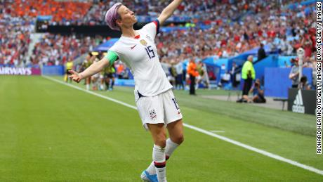 Rapinoe celebrates after scoring against the Netherlands.