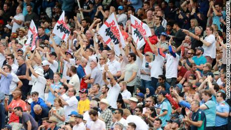England fans 'The Barmy Army' show their support during the semifinal clash.
