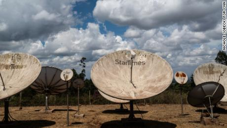 A StarTimes transmission site in Limuru, Kenya. Satellite dishes receive content from China, uplink it from Kenya, and beam it out across the country.