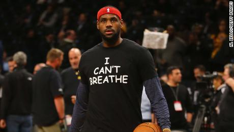 """LeBron James wears an """"I Can't Breathe"""" shirt during warmups before his game against the Brooklyn Nets at the Barclays Center on December 8, 2014, in New York."""
