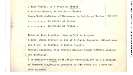 The names of Jesus Bazán and Antonio Longoria are listed in a document at the National Archives at College Park, Maryland.