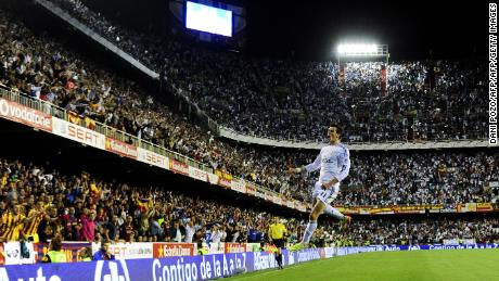 Gareth Bale celebrates after scoring during the Copa del Rey final against Barceona.