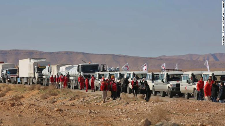 This picture shows an aid convoy of the Red Crescent arriving at Rukban on February 06, 2019. The displaced in Rukban have not received aid since.