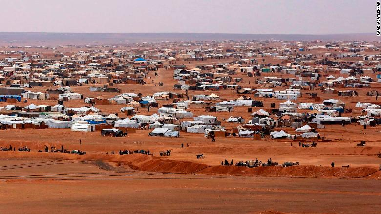 An aerial view of the informal Rukban camp, between the Jordan and Syria borders.
