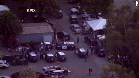 Gilroy police responding to a shooting at the Garlic Festival on July 28, 2019.