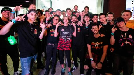 "Soleil ""Ewok"" Wheeler, 13, poses with her new team, Faze Clan, in New York."