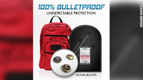 Sales of bulletproof backpacks and inserts, like this one from TuffyPacks, have skyrocketed.