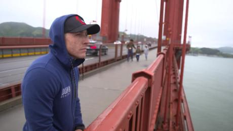 Kevin Hines looks out over the Golden Gate Bridge