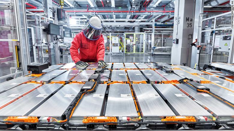 Battery packs are assembled inside Audi's e-tron factory in Brussels.