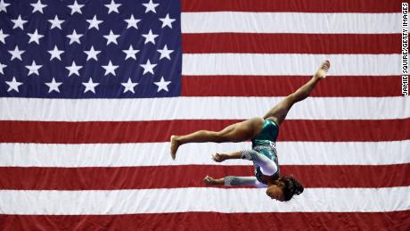 Biles competes on the balance beam at the 2019 US championships.
