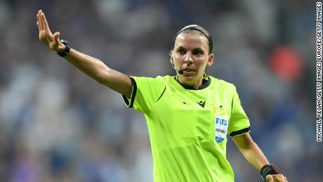 Referee Stephanie Frappart during the UEFA Super Cup match.