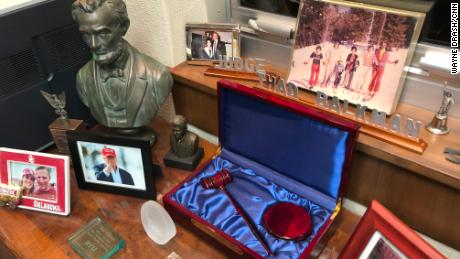 Thad Balkman's office is cluttered with artifacts and photographs. The bust of Abraham Lincoln with a photograph beneath it of President Donald Trump provide an interesting juxtaposition of presidential styles.