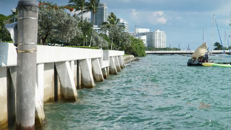 This new seawall was built in Miami Beach's flood-prone Sunset Harbour neighborhood. The city is spending $500 million to combat the threat of rising seas.