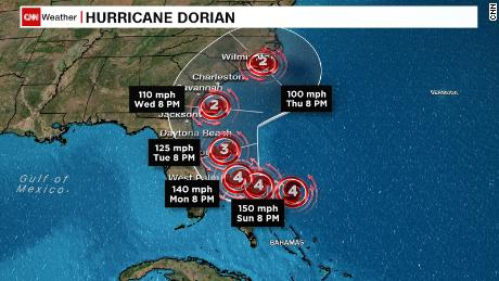 Some models have Hurricane Dorian skirting up the east coast.