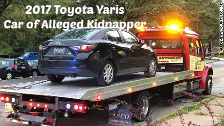 Police distributed this photo of the car of Sharena Nancy, a woman who is charged with kidnapping.