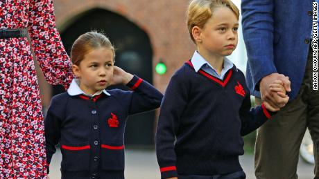 Princess Charlotte, with her brother Prince George, arrives for her first day of school on September 5, 2019. (Aaron Chown/AFP/Getty Images)