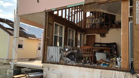 In one house, the walls were detached like adhesive tape.