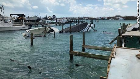 Boats capsized in the waters off the Abaco islands.