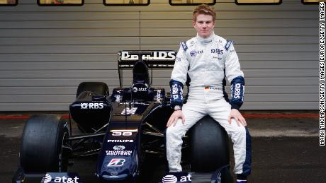Hulkenberg at the unveiling of the new Williams Formula One car in 2009.