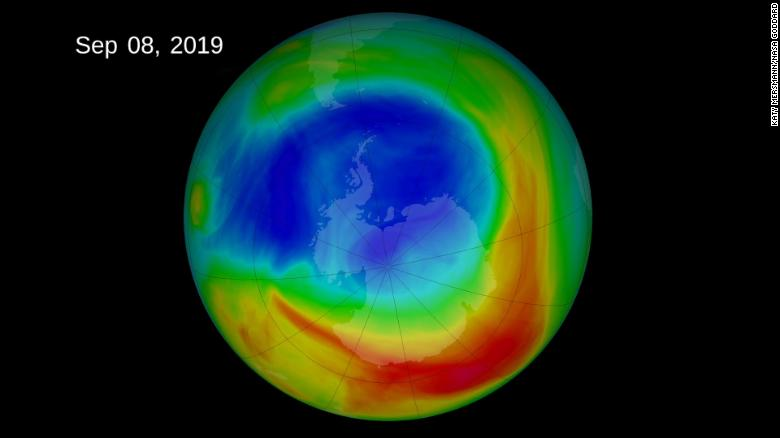 The ozone hole as it began to shrink.