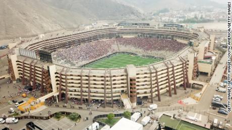 Vista aerea del Monumentale Stadio prima della Copa Libertadores finale.