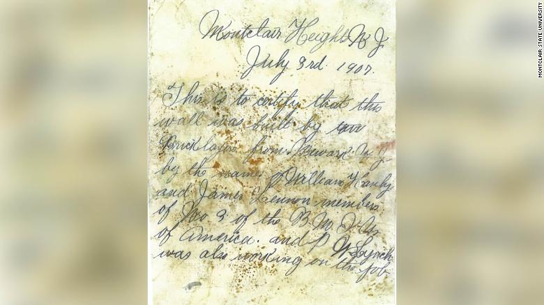 A closer view of the  letter found during renovations.