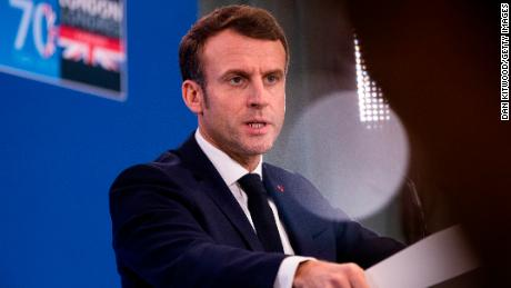 French President Emmanuel Macron during the NATO summit in the United Kingdom.