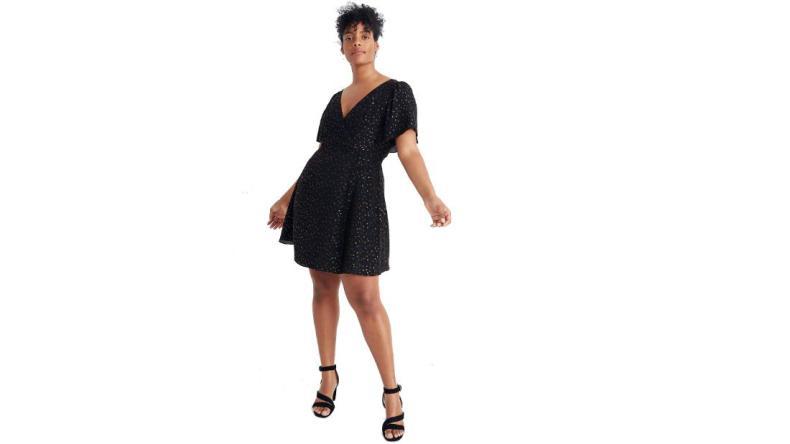 Mini vestido de manga ancha Madewell con destellos metálicos