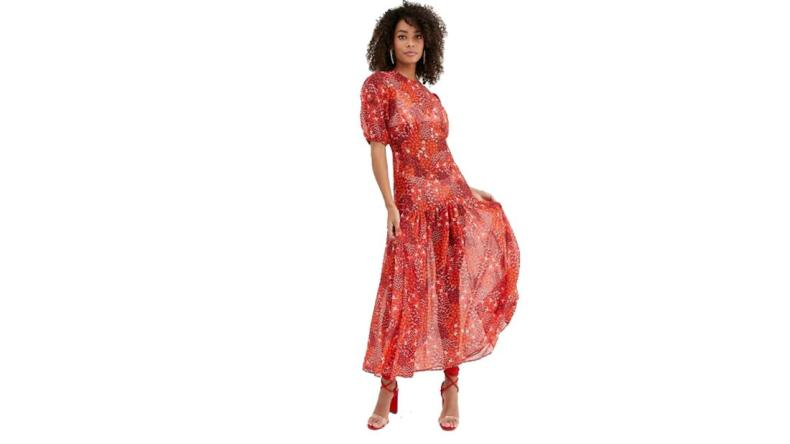 Never Fully Dressed puff-sleeve midi dress in red floral print