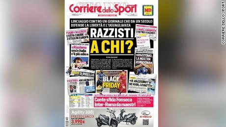 Venerdi's il Corriere dello Sport prima pagina con il titolo 'Razzista a chi?'