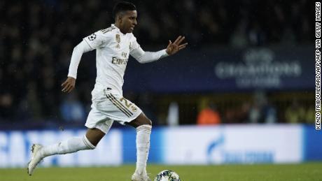 Il Real Madrid's Rodrygo protagonista nel suo team's conquistare il Club Brugge.