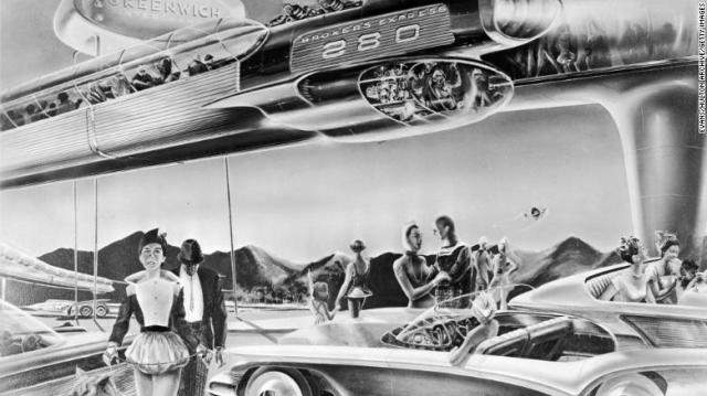 An artist's impression from 1958 of the future of commuting, featuring a monorail to transport people to and from suburbia.