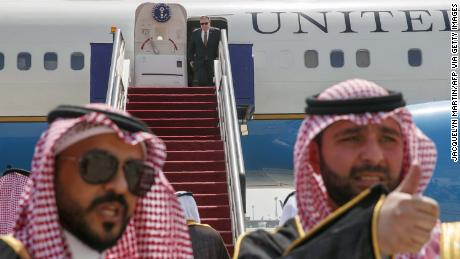 US Secretary of State Mike Pompeo exits a plane upon his arrival in the Saudi Red Sea city of Jeddah in June 2019.