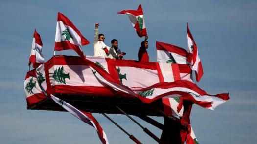 People take part in an Independence Day event on November 22. Lebanon marked 76 years of self-rule, with nationwide festivities organized by anti-government protesters in lieu of a traditional military parade.