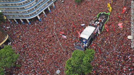 Flamengo fan durante la conferenza di Rio de Janeiro celebrazioni per la Copa Libertadores vincere.