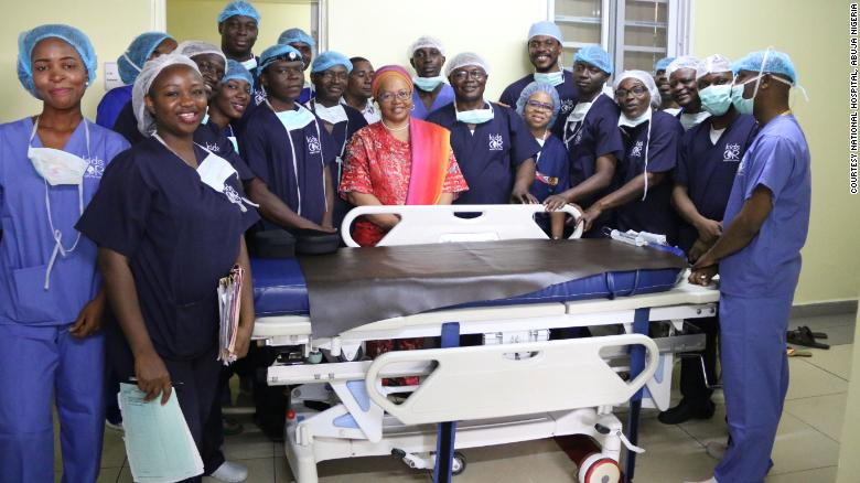 Some members of the team that performed the surgery
