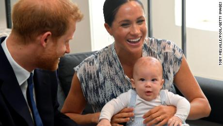 Harry and Meghan with their son, Archie, on a royal tour in 2019.