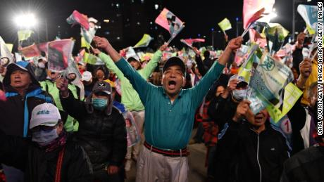 The president of Taiwan thanks voters after winning re-election